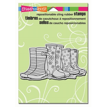 Stampendous Cling Stamp PUDDLE BOOTS Rubber UM CRP300