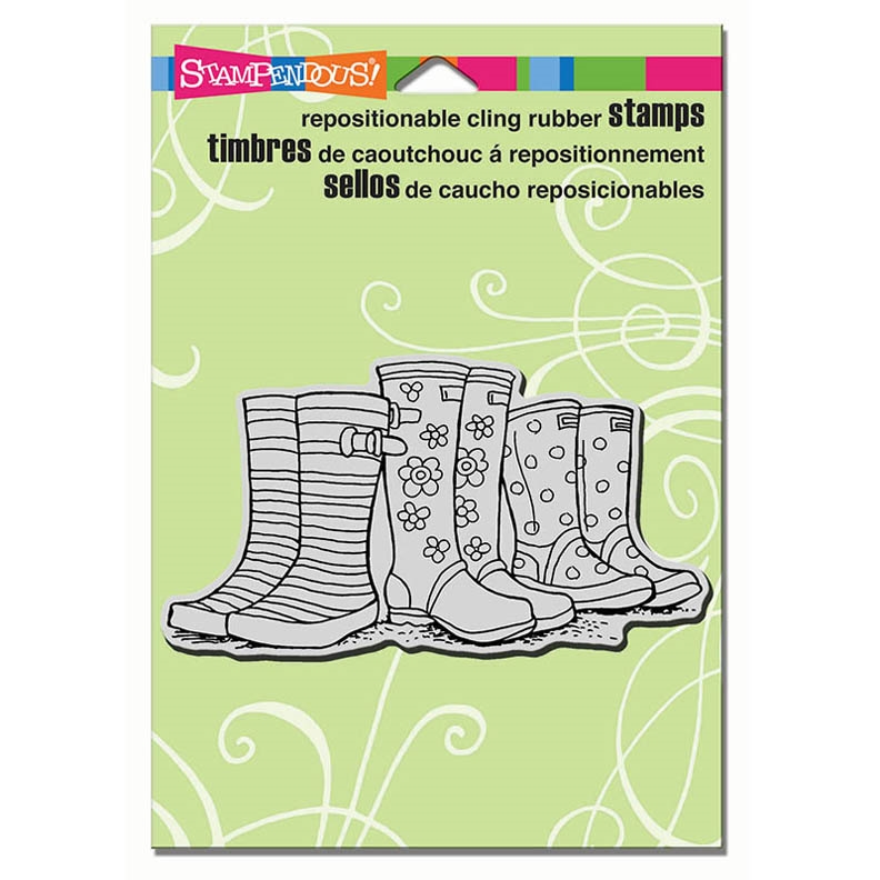 Stampendous Cling Stamp PUDDLE BOOTS Rubber UM CRP300 zoom image