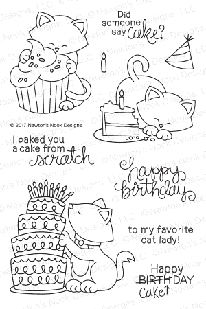 Newton's Nook Designs NEWTON LOVES CAKE Clear Stamp Set 20170201 Preview Image