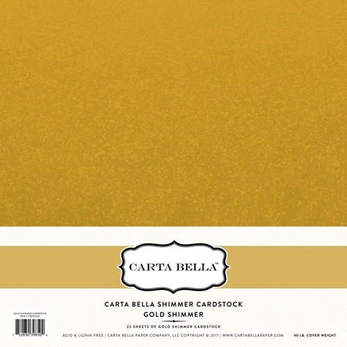 Carta Bella 12 x 12 GOLD SHIMMER CARDSTOCK 80LB CBDS601* Preview Image
