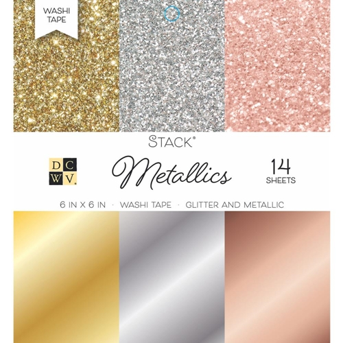 DCWV 6 x 6 METALLICS Glitter And Foil Washi Stack PS-005-00553 Preview Image
