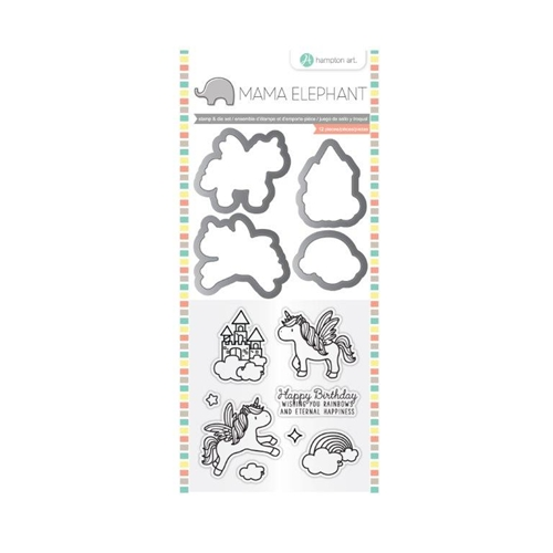 Hampton Art OVER THE RAINBOW Mama Elephant Clear Stamp and Die Set SC0784 Preview Image