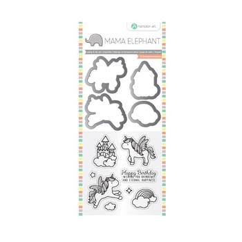 Hampton Art OVER THE RAINBOW Mama Elephant Clear Stamp and Die Set SC0784