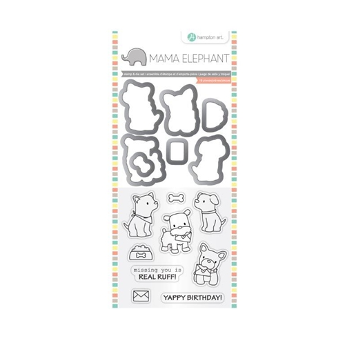 Hampton Art PUPPY PLAY Mama Elephant Clear Stamp and Die Set SC0785 Preview Image