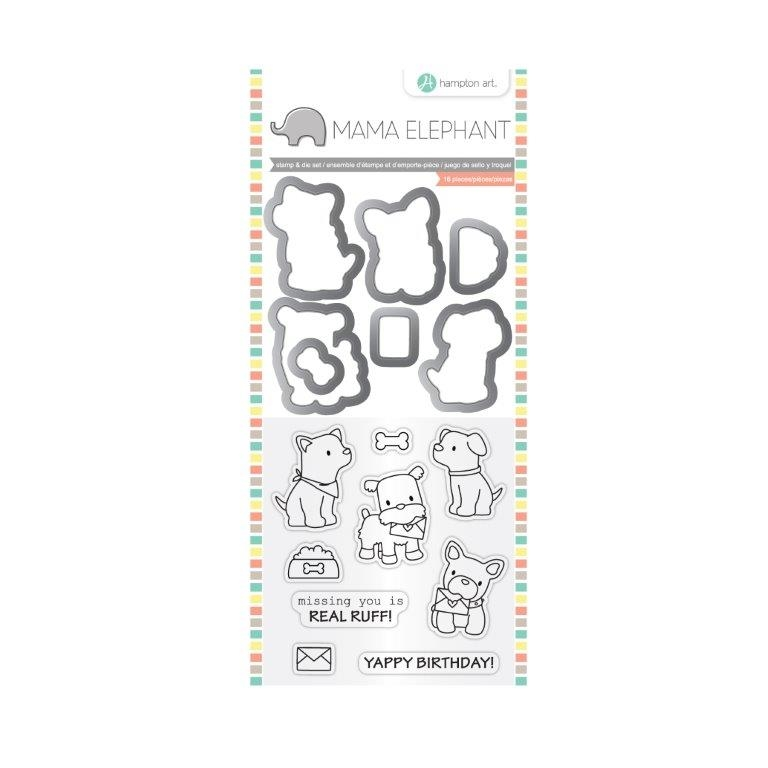 Hampton Art PUPPY PLAY Mama Elephant Clear Stamp and Die Set SC0785 zoom image
