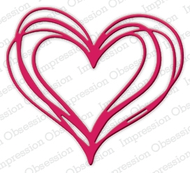 Impression Obsession Steel Dies SCRIBBLE HEART DIE511 T Preview Image