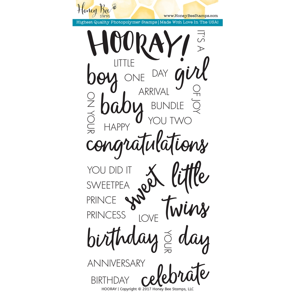 Honey Bee HOORAY Clear Stamp Set HBST-046* zoom image