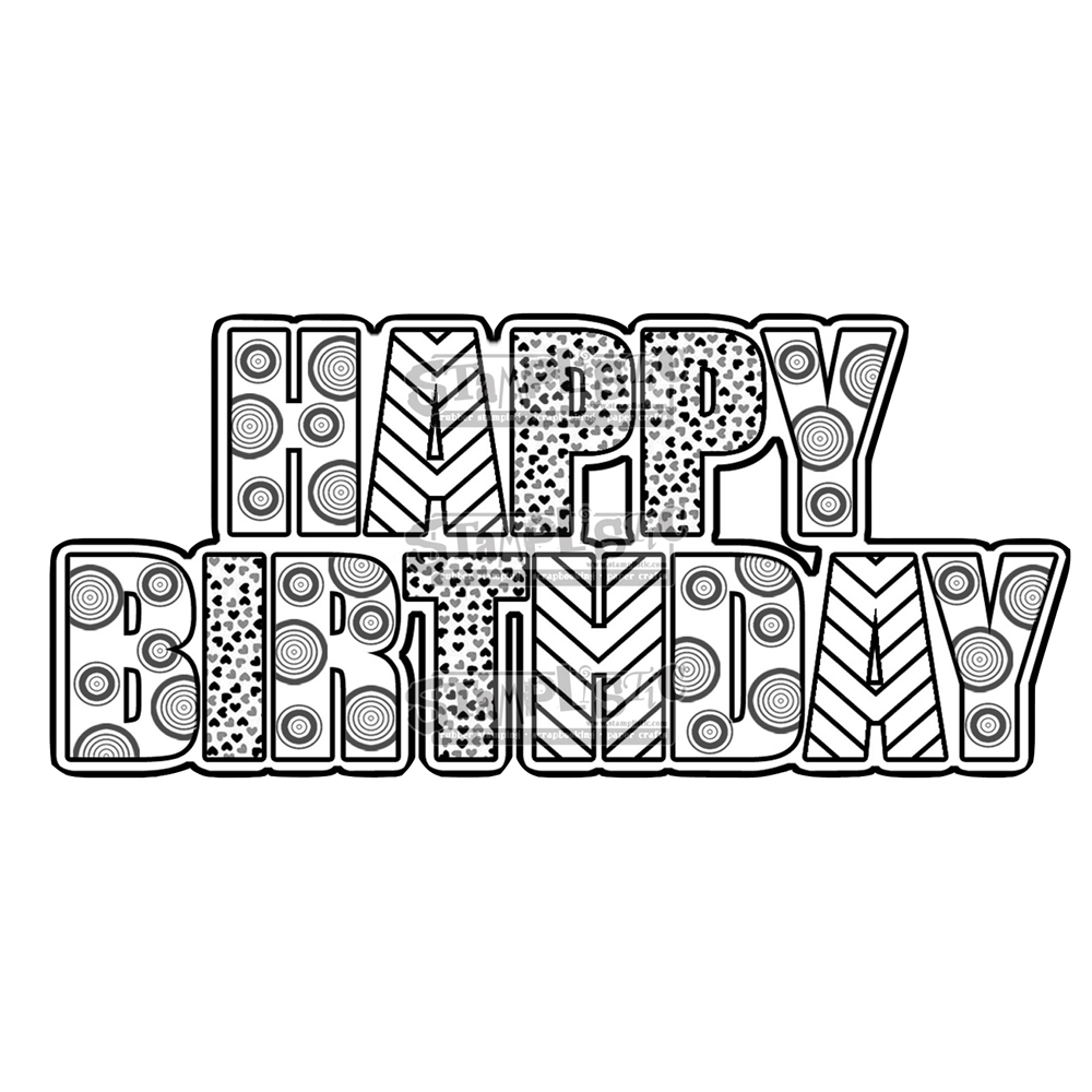 Stamplistic Cling Stamp HAPPY BIRTHDAY Rubber UM J170106 zoom image
