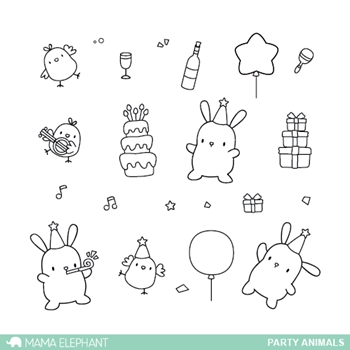 Mama Elephant Clear Stamps PARTY ANIMALS*
