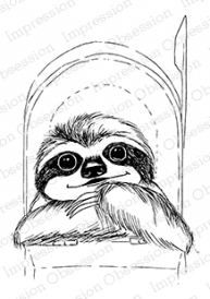Impression Obsession Cling Stamp SLOTH MAIL F13507 Preview Image