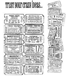Tim Holtz Cling Rubber Stamps ADMIT ONE SET Stampers Anonymous CMS003 Preview Image