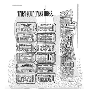 Tim Holtz Cling Rubber Stamps ADMIT ONE SET CMS003