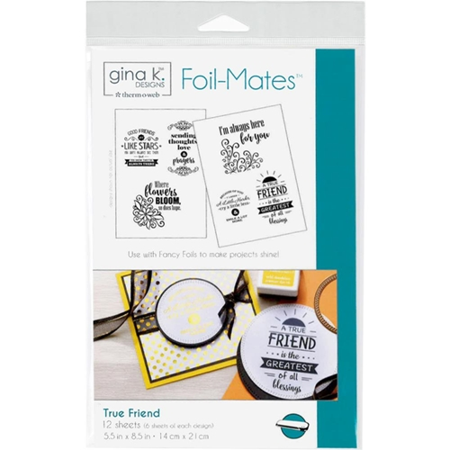 Therm O Web Gina K Designs TRUE FRIEND Sentiments Foil-Mates Sheets 18024 Preview Image