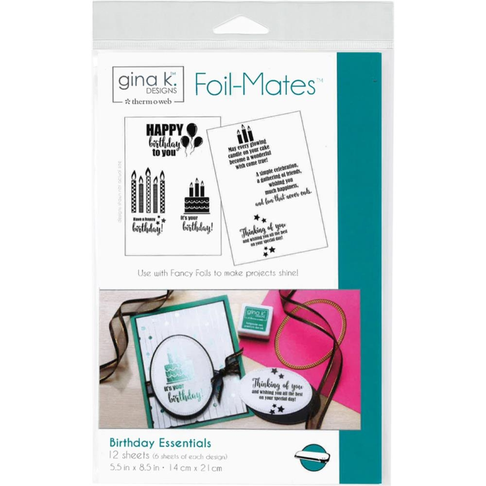 Therm O Web Gina K Designs BIRTHDAY ESSENTIALS Sentiments Foil-Mates Sheets 18023 zoom image
