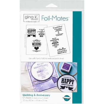 Therm O Web Gina K Designs WEDDING AND ANNIVERSARY Sentiments Foil-Mates Sheets 18025