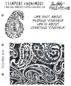 Tim Holtz Cling Rubber Stamps PAISLEY PRINTS Stampers Anonymous CMS011