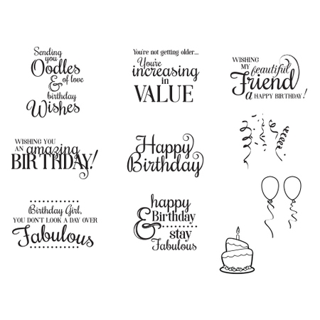 SBS 096 Spellbinders SPECIAL BIRTHDAY SENTIMENTS Cling Stamps At