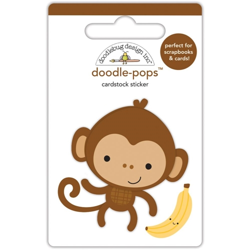 Doodlebug MIKE THE MONKEY Doodle Pops 3D Stickers At The Zoo 5590 Preview Image