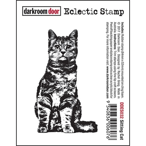 Darkroom Door Cling Stamp SITTING CAT Eclectic Rubber UM DDES032 Preview Image