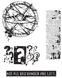 Tim Holtz Cling Rubber Stamps WORLD TRAVELER CMS027 Preview Image