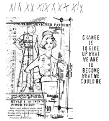 Tim Holtz Cling Rubber Stamps Set PATTERN PIECES CMS012 zoom image