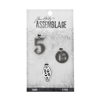 Tim Holtz Assemblage PACK OF 3 NUMBERS CHARMS THA20041