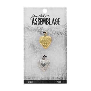 Tim Holtz Assemblage PACK OF 2 HEARTS LOCKETS THA20071