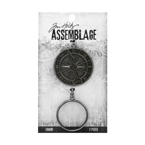 Tim Holtz Assemblage PACK OF 2 COMPASS AND MONOCLE CHARMS THA20027 Preview Image