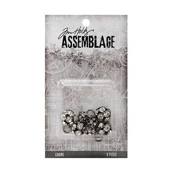 Tim Holtz Assemblage PACK OF 8 SPARKLING RONDELLS CHARMS THA20046