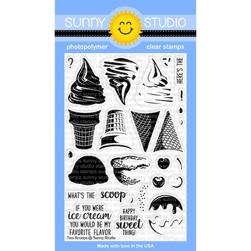 Sunny Studio TWO SCOOPS Clear Stamp Set SSCL-161* Preview Image