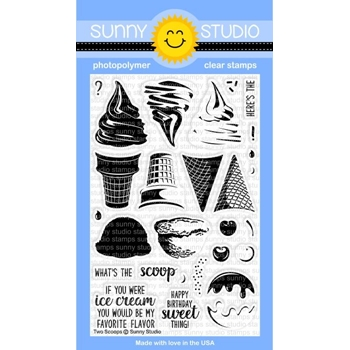 Sunny Studio TWO SCOOPS Clear Stamp Set SSCL-161*