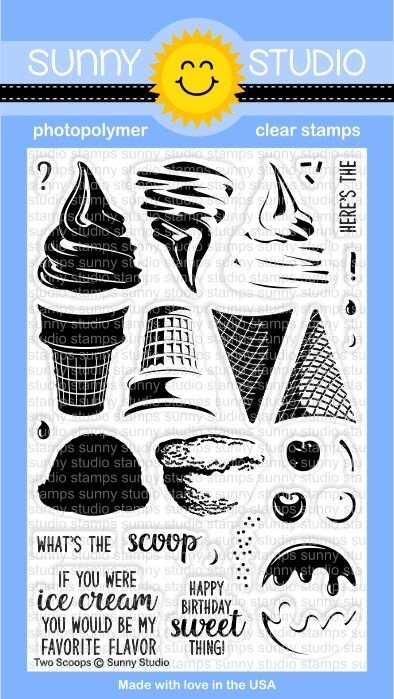 Sunny Studio TWO SCOOPS Clear Stamp Set SSCL-161* zoom image