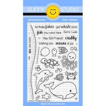 Sunny Studio OCEANS OF JOY Clear Stamp Set SSCL-158
