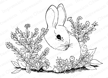 Impression Obsession Cling Stamp GARDEN BUNNY H16283 Preview Image