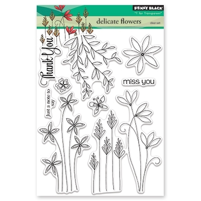 Penny Black DELICATE FLOWERS Clear Stamp Set 30 431 zoom image
