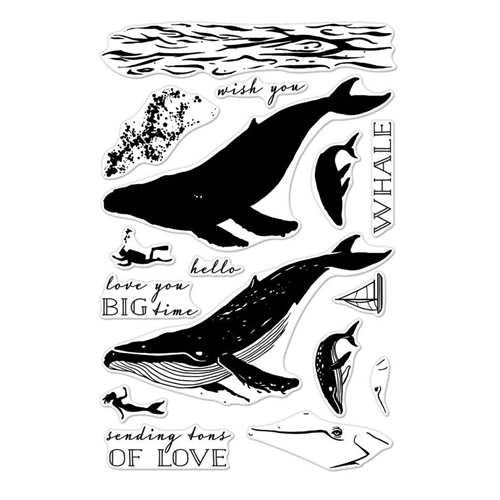 Hero Arts Clear Stamps Color Layering BLUE WHALE CM162 Preview Image