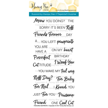 Honey Bee PAWSOME SENTIMENTS Clear Stamp Set HBST-050