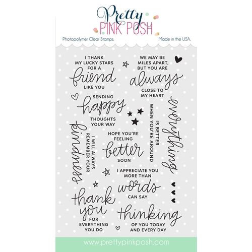 Pretty Pink Posh THOUGHTFUL GREETINGS Clear Stamp Set Preview Image