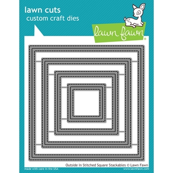 Lawn Fawn OUTSIDE IN STITCHED SQUARE STACKABLES Lawn Cuts LF1443