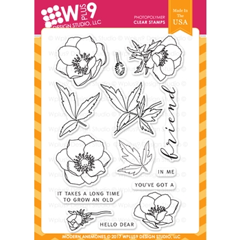 Wplus9 MODERN ANEMONES Clear Stamps CL-WP9MA