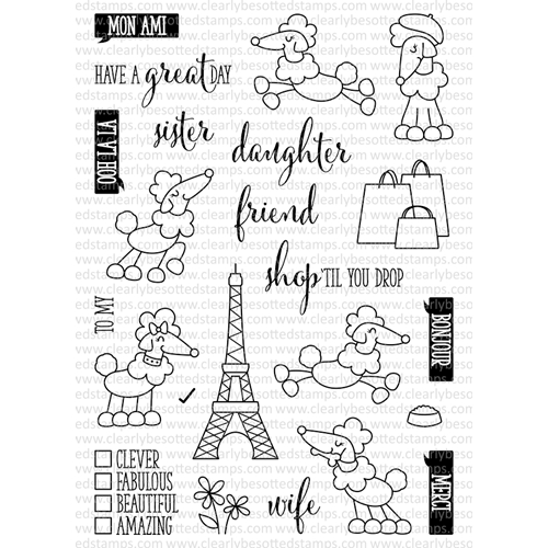 Clearly Besotted POODLE AROUND Clear Stamp Set* Preview Image