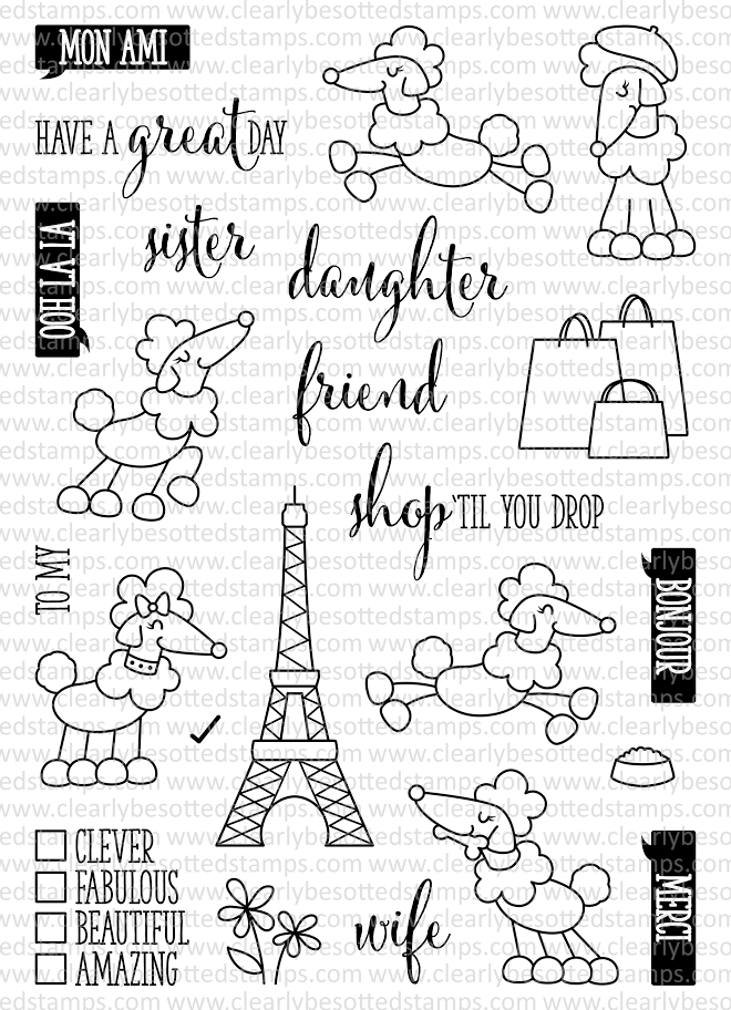 Clearly Besotted POODLE AROUND Clear Stamp Set* zoom image
