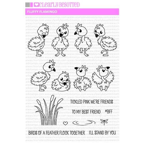 Clearly Besotted FLUFFY FLAMINGOS Clear Stamp Set  Preview Image