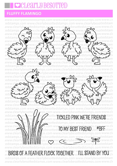 Clearly Besotted FLUFFY FLAMINGOS Clear Stamp Set  zoom image