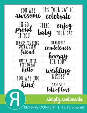 Reverse Confetti SIMPLY SENTIMENTS Clear Stamp Set Preview Image