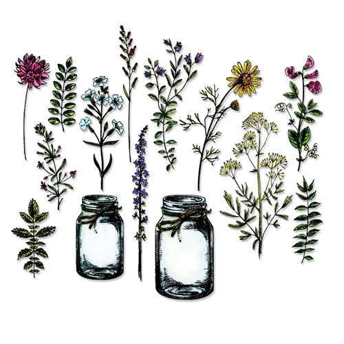 Tim Holtz Sizzix Framelits FLOWER JAR Wafer Thin Die Set 662270 Preview Image