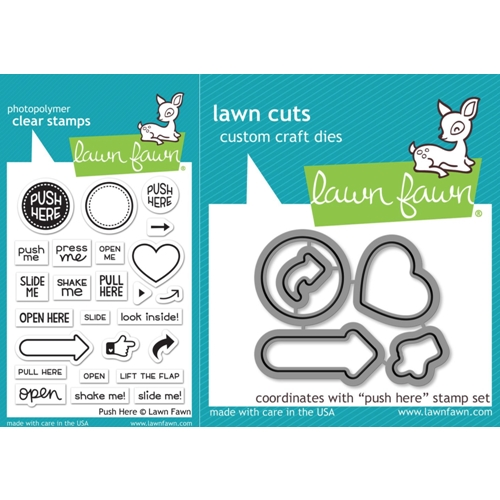 Lawn Fawn SET LF17SETPH PUSH HERE Clear Stamps and Dies Preview Image