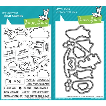 Lawn Fawn SET LF17SETPAS PLANE AND SIMPLE Clear Stamps and Dies