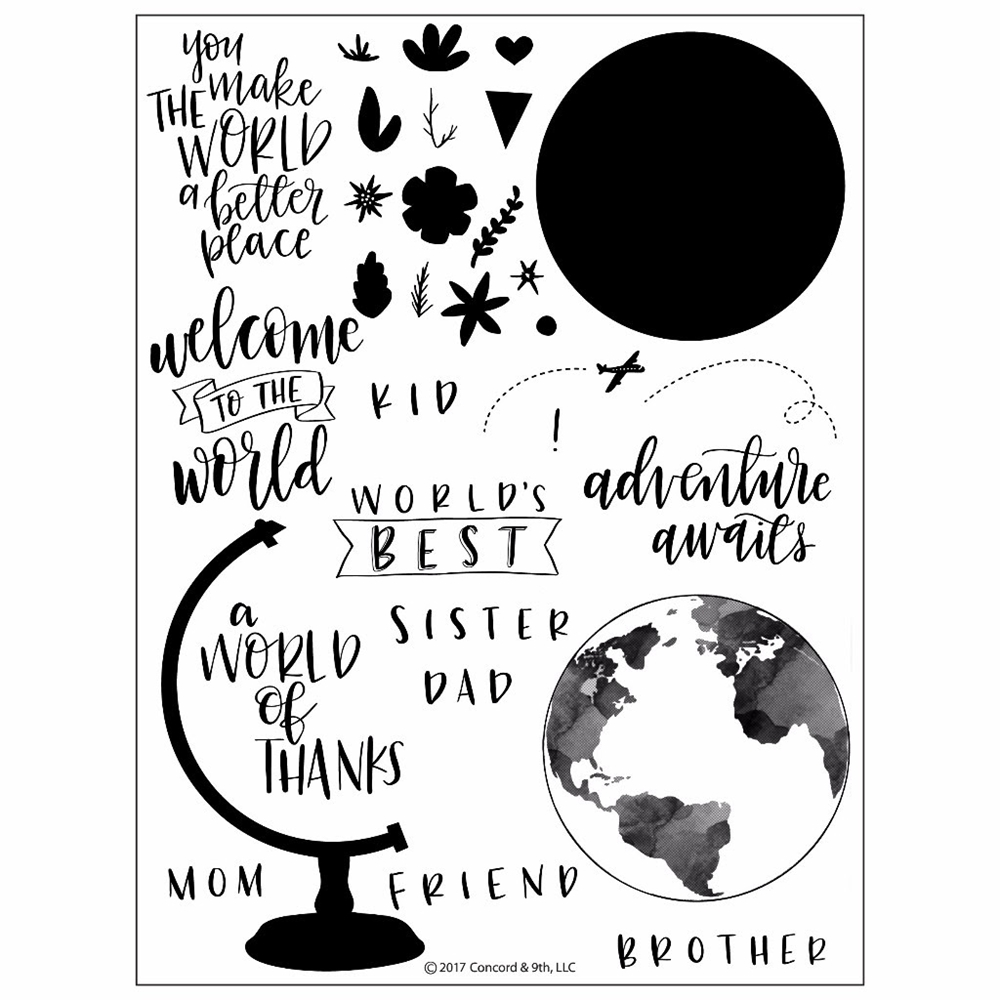 Concord & 9th GLOBE GREETINGS Clear Stamp Set 10204C9 zoom image