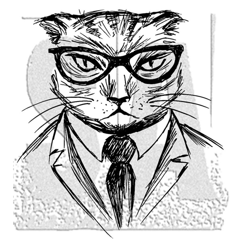 Tim Holtz Rubber Stamp HIPSTER CAT Stampers Anonymous M4-2957 Preview Image